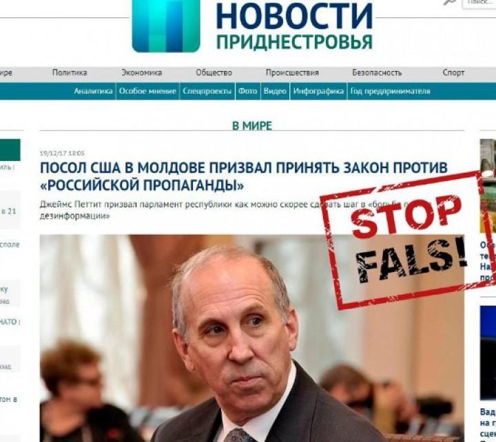 """FALS: Ambasadorul SUA a cerut adoptarea legii împotriva """"propagandei rusești"""""""