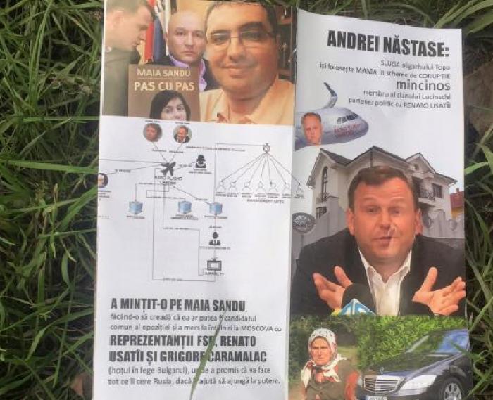 (foto) Broșuri electorale cu critici în adresa Maiei Sandu, Andrei Năstase și Renato Usatîi. PAS: Sunt tehnici murdare de manipulare a cetățenilor