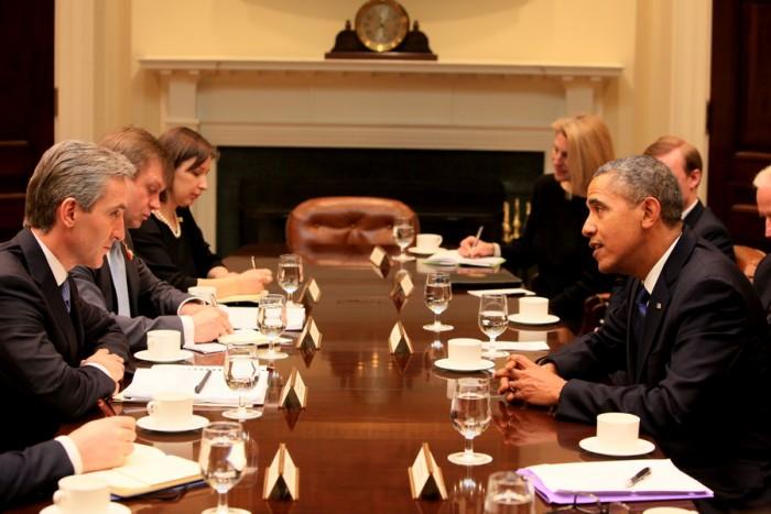 Fotografii de la întrevederea premierului Iurie Leancă cu Barack Obama și Joe Biden