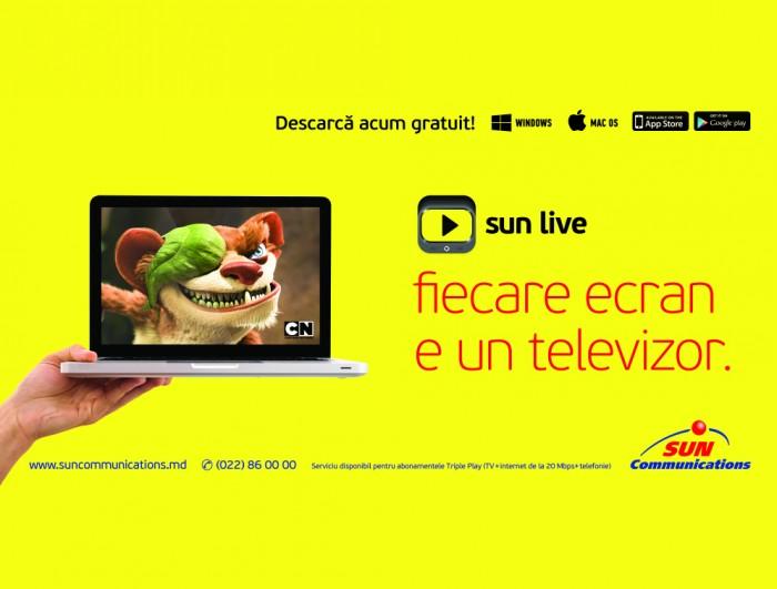 Sun Communications lansează, în premieră, un serviciu inovativ în televiziune – aplicația Sun Live