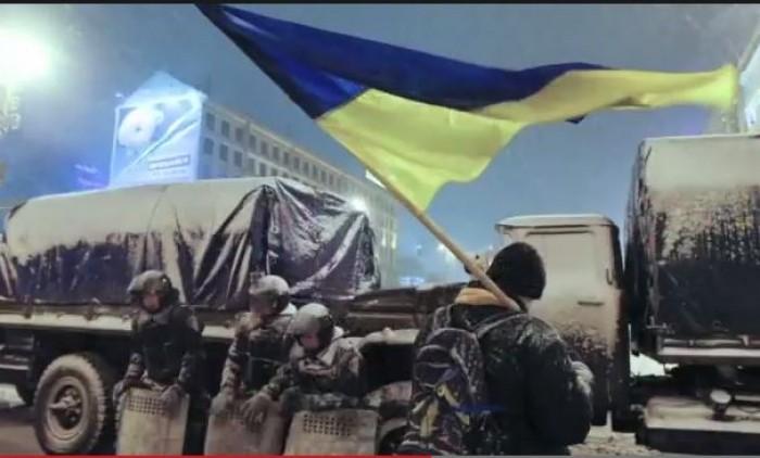 """(video) """"Solidari cu Ucraina"""". Imagini impresionante din timpul protestelor de la Kiev"""