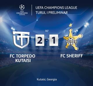 (video) Sheriff Tiraspol a fost învinsă de Torpedo Kutaisi în primul meci din turul întâi preliminar al Ligii Campionilor
