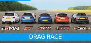(video) Drag race: Toyota Yaris GRMN vs Ford Fiesta ST vs VW Polo GTi vs Peugeot 208 GTI vs MINI John Cooper Works